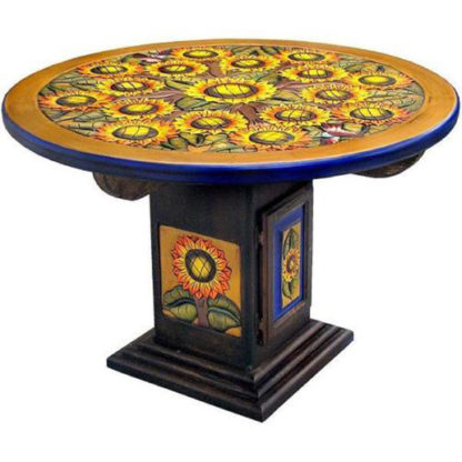 Mexican Round Carved Kitchen Dining Table
