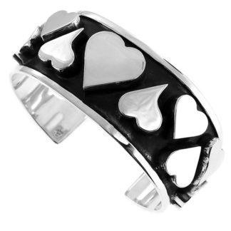 Mexican Vintage Heart Cuff Bracelet