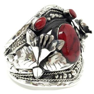 Mexican Vintage Sterling Silver Jasper Calla Lily Flower Cuff Bracelet