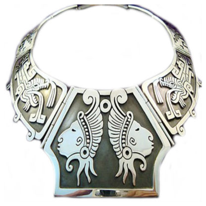 Vintage Taxco Mexican Sterling Silver Native Tribal Necklace
