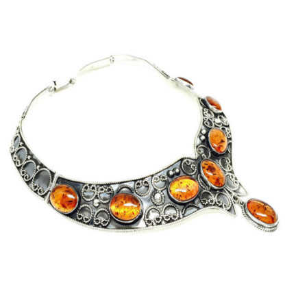 Mexican Vintage Sterling Silver Amber Scroll Necklace