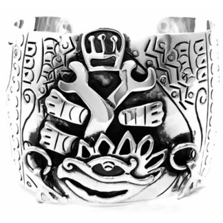 Mexican Vintage Taxco Sterling Silver Native Cuff Bracelet
