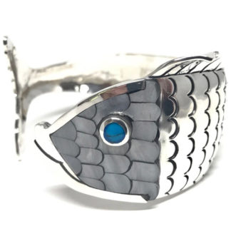 Taxco Mexican Sterling Silver Turquoice Shell Fish Cuff Bracelet