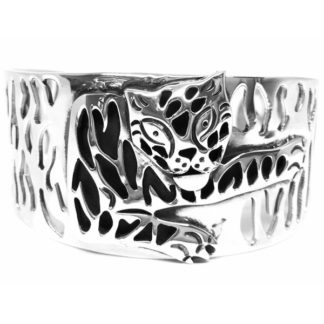 Taxco Mexican Sterling Silver Tiger Cat Cuff Bracelet