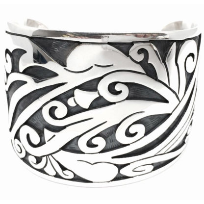 Taxco Mexican Sterling Silver Regal Deco Floral Scroll Cuff Bracelet