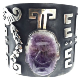 Mexican Vintage Sterling Silver Amethyst Cuff Bracelet