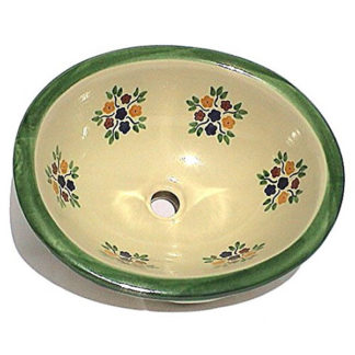 Green Bouquet Ceramic Talavera Sink