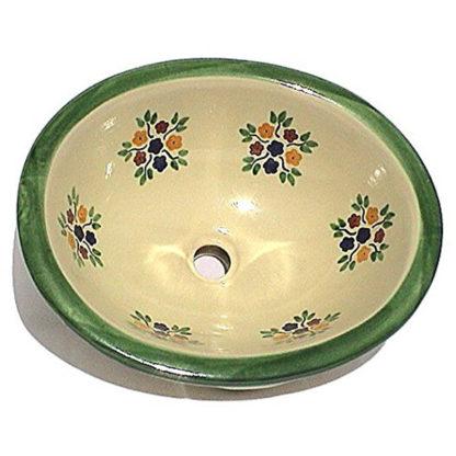 Green Bouquet Ceramic Talavera Sink