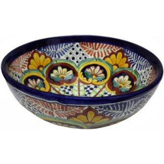 Greca C Round Ceramic Talavera Vessel Sink