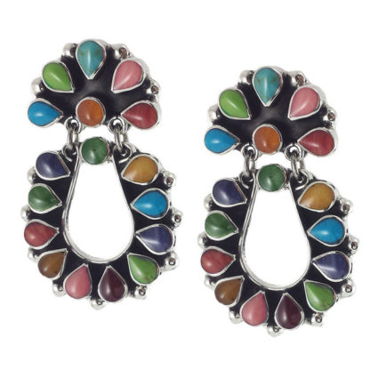 Mexican Taxco Vintage Sterling Silver Multi-Color Earrings