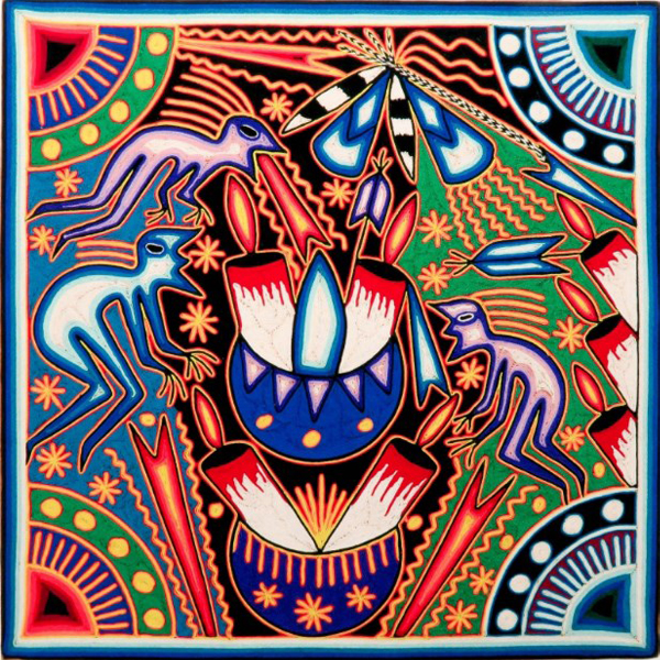 Large Huichol Yarn Painting 24″x24″