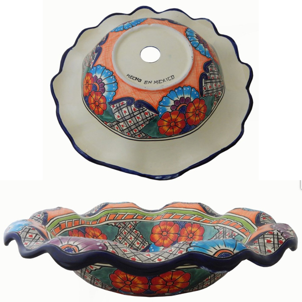Mexican Ceramic Vessel Flower design