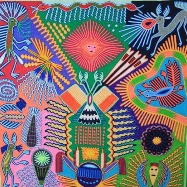 Mexican Folk Art Huichol Yarn Painting