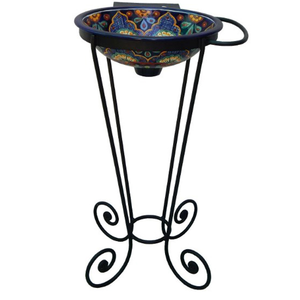 Wrought Iron Pedestal Base and Mexican Ceramic Sink