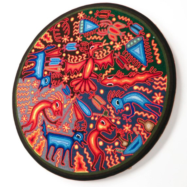 Large Huichol Yarn Painting 24″ Diameter